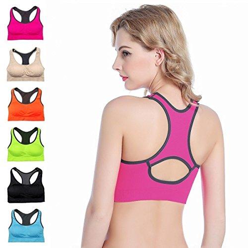 JFIN Femmes T-Back Sport Soutien-gorge Spandex Liberté Sans Couture Bleu Indy Pro Green