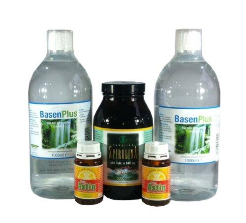 Entsäuerung - Entsäuerungskonzept für Zwei 2x BasenPlus 1000ml, 2x Astaxanthin 60 Kaps. & 625 Tabletten Spirulina