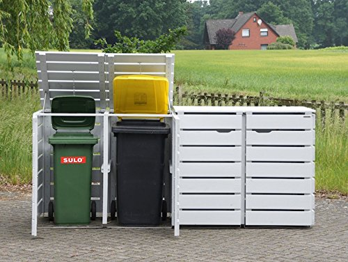 4er Mülltonnenbox / Mülltonnenverkleidung 240 L Holz, Transparent Geölt Grau - 7