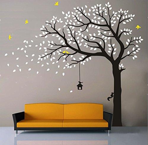 BDECOLL Vinyl Wand Aufkleber Baum mit Zweige & Fallende Blätter / Natur Vögel Art Dekor Heim Bunt aufkleber,Aufkleber/Sticker,Vinyl, für Kinderzimmer (Weiß) (Blatt-baum-aufkleber Bunte)