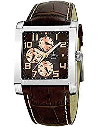 FESTINA Uni F16235-C - Reloj unisex de cuarzo, correa de piel color marrón