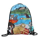 KAKICSA Unisex Gym Bag Unisex Dog and Cat Print Drawstring Backpack Rucksack Shoulder Bags Gym Bag Sport Bag