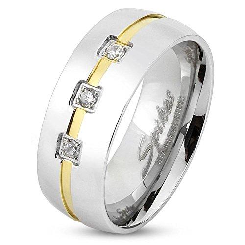 Bungsa 57 (18.1) Ring Silber mit 3 Steinen & Goldenem Mittelring - EDELSTAHLRING für Damen & Herren - DREI gefasste Kristalle & Gold-Streifen - Silberner SCHMUCKRING aus Edelstahl