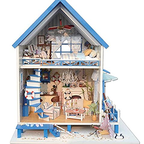 Bulary DIY Doll House Woodcraft Doll Cottage DIY Cabin Aegean Sea