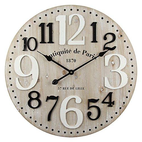 Alice' s collection- grande orologio da parete in legno (mdf)-stile vintage-diametro 60cm