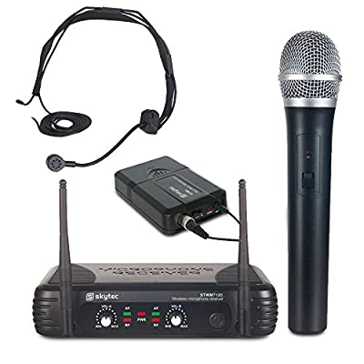 Skytec Dual Channel VHF Wireless Headset + Handheld Microphone Set