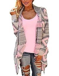 Monaseller Damen Asymmetrisch Cardigan Gestrickt Geometrischen Muster Strickjacken Lose Strickmantel Tunika Strick Mäntel Kimono Parka Outwear