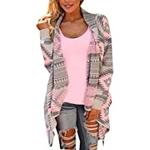 Damen Strickjacke Cardigan Langarmshirt Geometrische Irregular Lose Pullover Mantel Outwear Tops Strickmantel Strick Loose Strickjacke Kimono