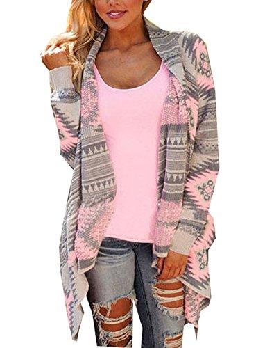 Damen Strickjacke Cardigan Langarmshirt Geometrische Irregular Lose Pullover Mantel Outwear Tops Strickmantel Strick Loose Strickjacke Kimono (S, Rosa )