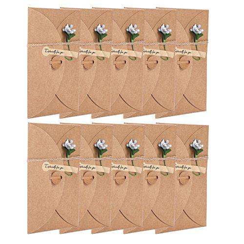 ativ 10 Stücke Weihnachten Glückwunschkarte falten aus Kraftpapier Karten handmade mit Blumen Klappkarten für Hochzeit Thanksgiving Geburtstag Lehrer Business Einladung mit Umschlag ()