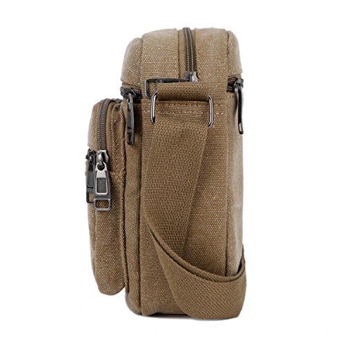 Herren-Schulter-Segeltuch-Beutel-beiläufige Tasche,Black Black