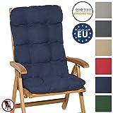 Beautissu Hochlehner Auflage Flair HL 120x50x8cm Sitzkissen Rückenkissen Sitzpolster Schaumflockenfüllung Dunkel-Blau
