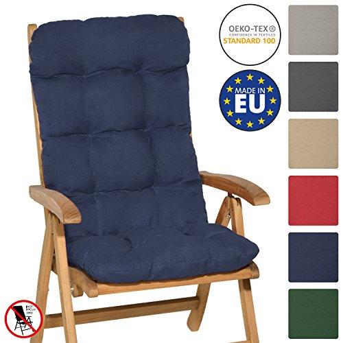 Beautissu Flair HL - Cojín para sillas de balcón o Asiento Exterior con Respaldo Alto - 120x50x8 cm - Azul Marino
