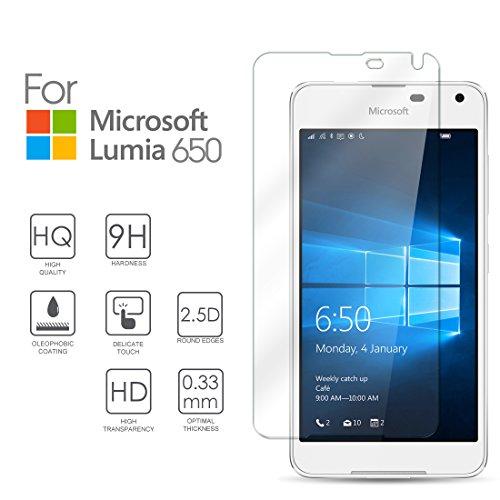 Hartglas Schutzfolie Microsoft Lumia 650, eProte® Gehärtetem Glass Folie für Microsoft 650 / Lumia 650 Dual SIM, 5.0 Zoll, 2016 - 9H Glashärte, Anti-Schock, Kratzfeste und Ölabweisende Beschichtung, Einfach zu säubern, HD Transparenz und Feingefühl