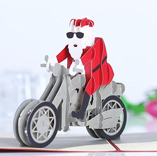 Global brands online il babbo natale del motociclo di natale 3d apre la cartolina d'auguri i biglietti di auguri del partito di natale