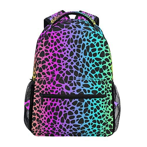 Mochila Escolar de Leopardo arcoíris, Mochila de Viaje para Estudiantes, niños y niñas, Mochila para computadora portátil
