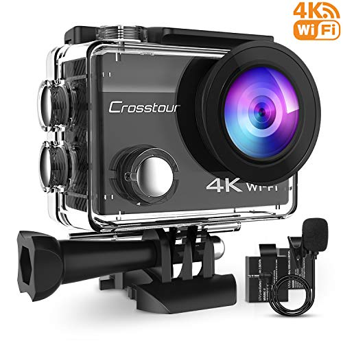 Crosstour 4K 16MP Action Camera WiFi Waterproof with External Microphone Remote Control Anti-Shaking Time-Lapse and 2 Rechargeable Batteries and Accessories Sets for Skiing and Snowboarding