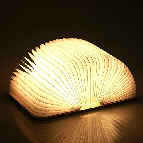 Hölzerne faltende Buch-Lampe, magnetisches LED-Licht, dekorative Lichter, Tabelle / Schreibtisch-Lampe mit Akku 880 Milliamperestunden, hell genug für das Ablesen, Ideal für Geschenk (Lampe Hölzerne)