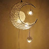 OurLeeme Pendant Lights, Beautiful Moon and Star Hanging Light Fairy Light Pendant Hanging Ceiling Aluminum Light for Kids Room Living Room Home Decoration