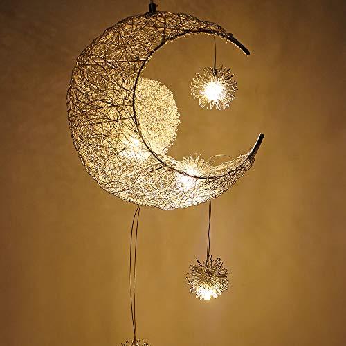 OurLeeme Pendelleuchte, Mond und Sterne Deckenleuchte Fee Licht Anhänger Hängende Decke Warmweiß für Kinderzimmer Wohnzimmer Dekoration