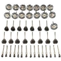 Conjunto de rueda de cepillo de alambre de acero - SODIAL(R)45 piezas de accesorios de conjunto de rueda de cepillo de alambre de acero para herramienta rotativa de Dremel
