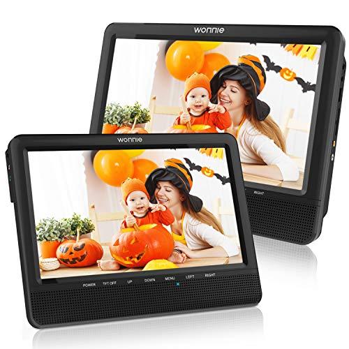 """WONNIE 10"""" Auto DVD Player 2 Monitore Auto Tragbarer DVD Player Kopfstütze Fernseher 2 Bildschirm mit 5 Stunden Akku, unterstützt USB/SD/AV IN & Out (1Host +1 Slave)"""