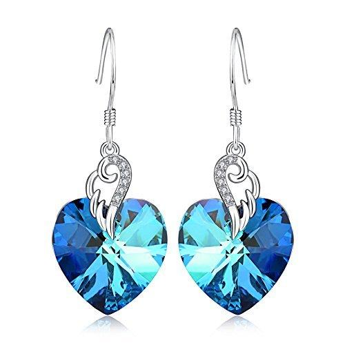 Engelsflügel Ohrringe Damen Sterling Silber Liebes Herz Französisch Haken Baumeln Ohrringe mit Blauen Swarovski-Kristallen