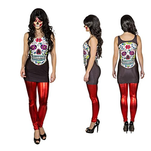 NET TOYS Sexy Sugar Skull Kleid Minikleid Dia de los Muertos L/XL 42 - 48 La Catrina Stretchkleid Calavera Long Shirt Damenkostüm Tag der Toten Halloween Kostüm Damen