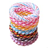 Miya® Set of 6 Large Stripe Top Quality Beautiful Wires Telephone Cable Elastic Hair Ponytail Holder Plastic Spiral Telephone Scrunchie Hair Accessory Bracelet