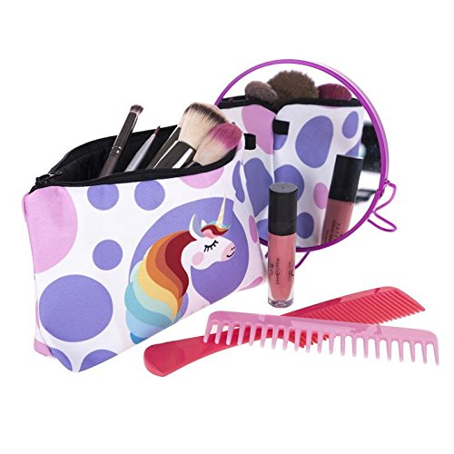 Kukubird Divertimento Nuovo Animale Foto Modello Stampa Make-up Bag Con Sacchetto Di Polvere Di Kukubird Unicorn Hairdo
