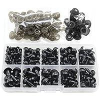 100 Piezas de Plástico Negro Ojos de Seguridad Artesanal Ojos con Arandela para títeres muñeca osito peluche animales 5 tamaño 6 8 9 10 12 mm
