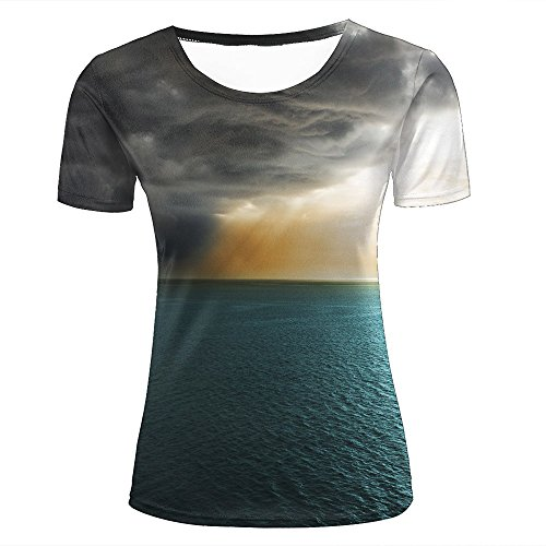 Damen Crewneck 3D Print T-Shirt Storm Clouds Cover suncreative Graphic Short Sleeve Tee Top Shirts XXL