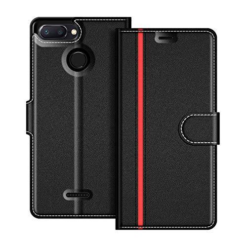 COODIO Handyhülle für Xiaomi Redmi 6 Handy Hülle, Xiaomi Redmi 6A Hülle Leder Handytasche für Xiaomi Redmi 6 / 6A Klapphülle Tasche, Schwarz/Rot