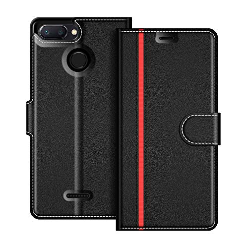 COODIO Xiaomi Redmi 6 Hülle Leder, Xiaomi Redmi 6A Lederhülle Ledertasche Wallet Handyhülle Tasche Schutzhülle mit Magnetverschluss/Kartenfächer für Xiaomi Redmi 6 / 6A, Schwarz/Rot