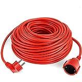 Simbr Cable alargador de corriente IP20 H05VV Alargador cable de gran calidad 10m 15m 20m 30m Color rojo (30m)