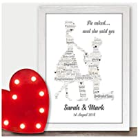 Personalised Engagement Gifts He Asked She Said Yes Congratulations Engagement Engaged Couples Fiance Fiancee Gifts - A5, A4, A3 Prints and Frames - 18mm Wooden Blocks - FREE Personalisation