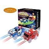 codomoxo ®Lot de 2 Voitures Lumineuses pour Le Magic Tracks Circuit Flexible et Lumineux (Bleu Police+Voiture de Moteurs d'incendie)
