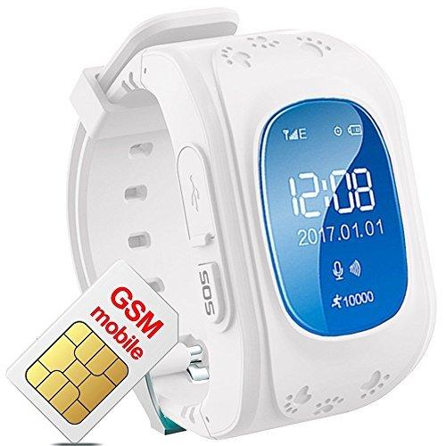 Hangang Reloj para Niños GPS Rastreador niños reloj de pulsera teléfono SIM anti lost SOS pulsera Parent control por iPhone iOS y Android Smartphone Q50
