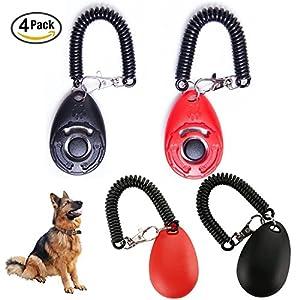 MOONKEY Lot de 4 cliqueurs de dressage professionnel avec bracelet élastique pour chien, Couleurs variables (Noir, rouge) -Entraînement au clicker avec bande de poignet - Training Clicker avec grand bouton pour chiens, chats, chevaux