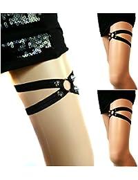Liga, gótico, pentagrama, caucho, remaches, tirantes de cuero cinturón con el clip del metal, 1 unidad OS