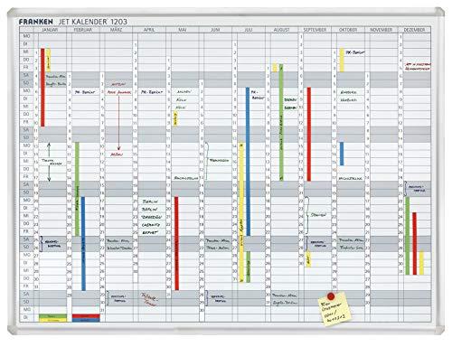 Franken JK1203 Jahreskalender (Jahresübersicht Januar bis Dezember) 90 x 120 cm, weiß