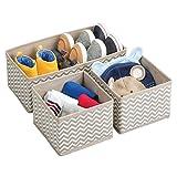 mDesign Aufbewahrungsboxen aus Stoff im 3er Set – Stoffbox in zwei Größen für Wäsche, Windeln, Tücher, Accessoires etc. – flexible Aufbewahrungskiste für den Schrank oder Schublade – taupe  - 5