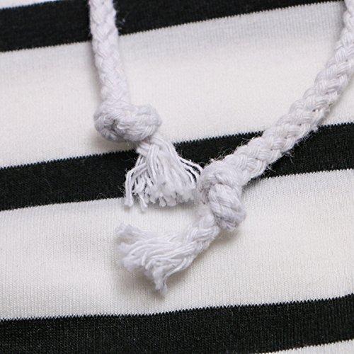 Inverno E Autunno Strisce Cappuccio A Doppio Strato Coulisse Colore Incantesimo Maniche Lunghe Bianco E Nero Blu 3 Colori Felpa Con Cappuccio White