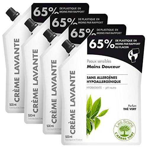 green-tree-crema-detergente-pelle-sensibile-ricarica-mani-te-verde-500-ml-set-di-4