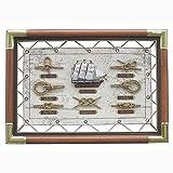 Knotentafel auf Segeltuch, Seegelschiff mit Seemannsknoten, Englisch