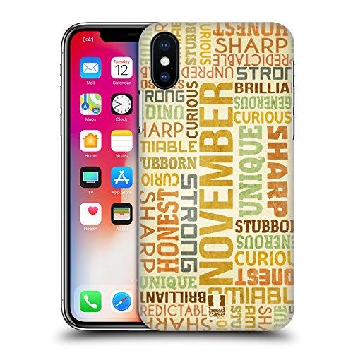 Head Case Designs Gennaio Personalità Dei Mesi Di Nascita Cover Retro Rigida per Apple iPhone X Novembre