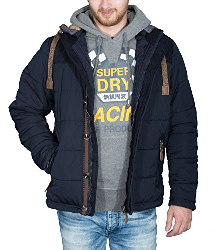 Better Sleep tylz greybullbz giacca invernale da uomo uomini piumino look cappuccio rimovibile Vegan (S-XL) Blau/BML/Nco M