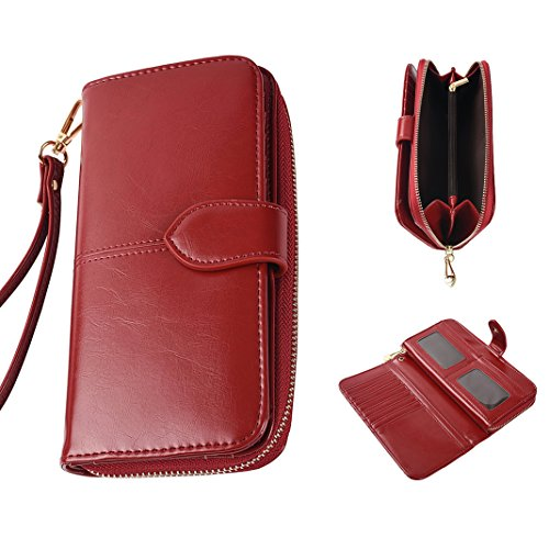 Kartenetui Geldklammer Ausweihülle Edelstahl RFID Blocking Wallet Credit Card Holder für Damen und Herren (Wallet Leder Flap Card)