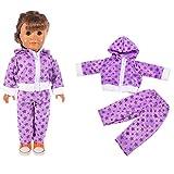 MCYs Amerikanisches Puppenzubehör, Trendy Zippered Hoodie Pyjamas Nachtwäsche für 18-Zoll-American Girl Doll