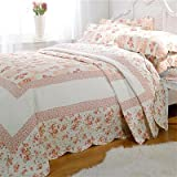 Emma Barclay Lille Patchwork 100% Cotton Quilted Bedspread Set, Pink, King